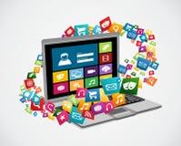 Online social media applications vector illustration