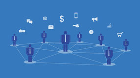 Online-socialt begrepp för kommunikation och för nätverksanslutning för abstrakt begrepp stock illustrationer