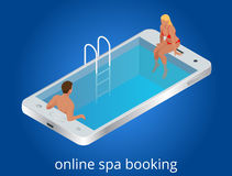 Online SPA booking concept. Guests can book online with mobile devices, tablets, desktops, IPTVs or kiosks at anytime Royalty Free Stock Photos