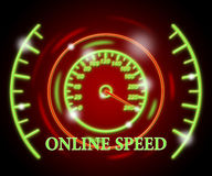 Online Speed Represents Fast Tachometer And Action Stock Photo