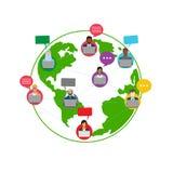 Online społeczność na światowym projekcie ilustracja wektor