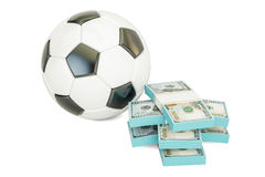 Online sport bets. Money and soccer ball, 3D rendering Royalty Free Stock Photos