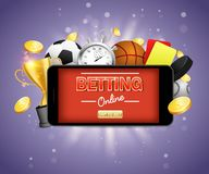 Online sports betting vector poster banner design template. Football, basketball, baseball, hockey online betting royalty free illustration