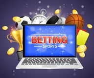 Online sports betting vector poster banner design template. Laptop and soccer basketball baseball balls, stopwatch, hockey puck, yellow and red referee cards vector illustration