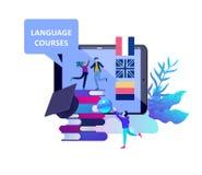Online-språkkurser, avståndsutbildning, utbildning Manöverenhet för lära för språk och undervisande begrepp vektor illustrationer