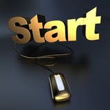 Online start in gold Stock Photography