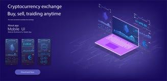 Online statistieken en gegevens Analytics Digitale geldmarkt, investering, financiën en handel Perfectioneer voor Webontwerp, vector illustratie