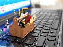 Online steun. Toolbox met hulpmiddelen op laptop. vector illustratie
