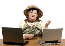 Online steunexploitant die Halloween-kostuum dragen Stock Foto's
