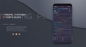 Online stock trading interface vector eps 10. Trade exchange app on phone screen. Mobile banking cryptocurrency ui. Online stock trading interface vector eps 10 Royalty Free Stock Photography