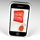 Online Store Bag Displays Shopping and Buying From Internet Stor Royalty Free Stock Images