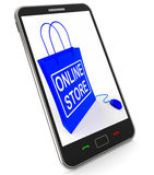 Online Store Bag Represents Internet Commerce and Selling Stock Images