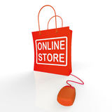 Online Store Bag Shows Shopping and Buying From Internet Stores Stock Image