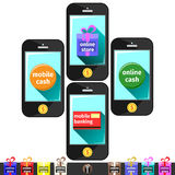 Mobil apps on smart phones Royalty Free Stock Images