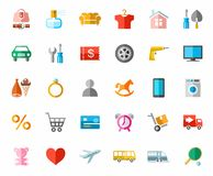 Online store, color pictures, icons. Royalty Free Stock Image