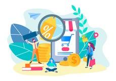 Online store concept. Online shopping. Mobile app for internet s royalty free illustration