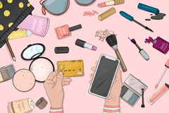 Online store concept with women`s cosmetics. Women`s hands with a credit card and smartphone pay for purchases online. Payment by credit cards online. The view stock illustration