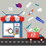 Online store with delivery service concept Royalty Free Stock Images