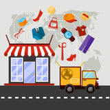 Online store with delivery service concept Stock Photo
