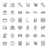 Online store flat icon. Set. Single high quality outline symbol of info for web design or mobile app. Thin line signs for design logo, visit card, etc. Outline Stock Photos