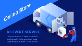 Online Store Goods Transportation Banner Template. Delivery Service Typography with Text Space. Isometric Worker Loading Domestic Appliance in 3d Truck Cartoon stock illustration