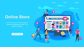 Online Store Horizontal Banner with Copy Space. Horizontal Banner with Copy Space. Customers Buying and Making Payments with Smartphones at Huge Computer stock illustration