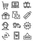 Online Store icon. Set of vector icons shopping in the online store Stock Images