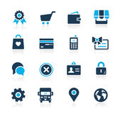 Online Store Icons // Azure Series Royalty Free Stock Photo