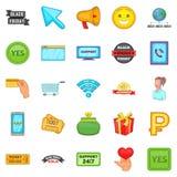 Online store icons set, cartoon style Stock Image