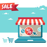 Online store. Laptop with awning. Vector Online store symbol - Sale, Laptop with awning Stock Image