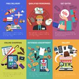Online Store Mini Posters Set Royalty Free Stock Photography