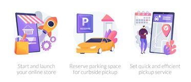 Free Online Store Pickup Service Abstract Concept Vector Illustrations. Stock Photo - 187941440