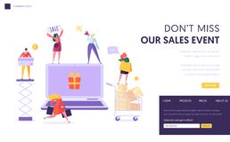 Online Store Sale Landing Page Template. Woman Shop Online Using Laptop. E-commerce, Consumerism, Retail Concept. Characters Shopping Purchase for Website or vector illustration