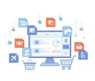 Online Store Shop. Internet virtual shopping, e-commerce, digital marketing. Monitor with webstore on the screen, cart, basket royalty free stock photo