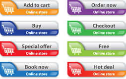 Online store/shop web interface elements Stock Images