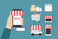 Online store and shopping icon Stock Photos