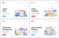 Free Online Store, Shopping Technology Vector Illustrations, Creative Banners With Flat Cartoon Mobile Shop App Template Royalty Free Stock Photo - 189649635