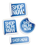 Online store stickers Shop now. Royalty Free Stock Images