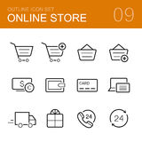 Online store vector outline icon set Royalty Free Stock Images