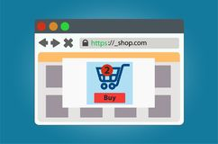 Online store window open in the browser. Isolated on background. vector illustration