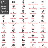 Online stores and classified ads icon set Royalty Free Stock Images