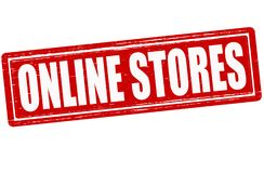 Online stores. Stamp with text online stores inside, illustration Royalty Free Stock Images