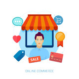 Online storfront with seller in fron Royalty Free Stock Image