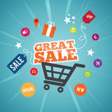 Online-stort Sale begrepp Arkivfoto