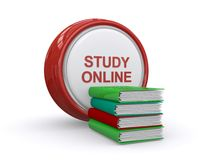 Online study concept. Button with study online in text and a stack of books Stock Image