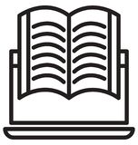 Online study, e book line isolated vector icon can be easily modified and edit royalty free illustration
