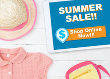 Online summer sale shopping store on tablet shop online. Now Stock Image