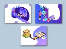 Online super fast delivery, isometric concept with delivery boxes, courier boy and lady delivering to destination point, map. Navigation on a smartphone screen stock illustration
