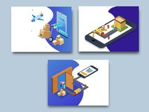 Online super fast delivery, isometric concept with delivery boxes and courier boy delivering to destination point, map navigation. On a smartphone screen, set stock illustration