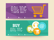 Online Super Sale header or banner set. Royalty Free Stock Photos